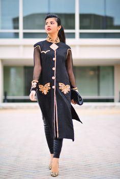 Black Salwar Kameez Embellished by Sadaf Amir - Bold Metallic Dress Gold And Black Dress, Metallic Dress, Black Salwar Kameez, Beautiful Outfits, Desi, Cold Shoulder Dress, Asian, Dresses, Vestidos