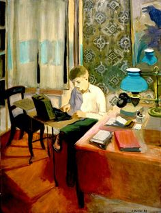 Laurence Typing — Fairfield Porter 1952  American 1907-1975                                                                                                                                                                                 More