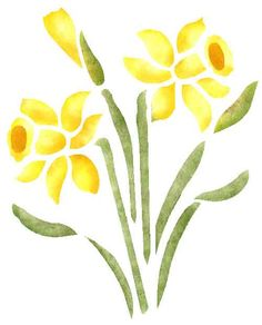Quickly and easily create a beautiful floral design on walls in your bedroom, livingroom and more with our Daffodils Painting Stencil!