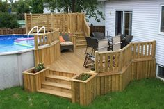 Above Ground Pool Landscaping, Above Ground Pool Decks, Ground Pools, Pool Deck Plans, Patio Plans, Construction Patio, Decks Around Pools, Backyard Projects, Backyard Ideas