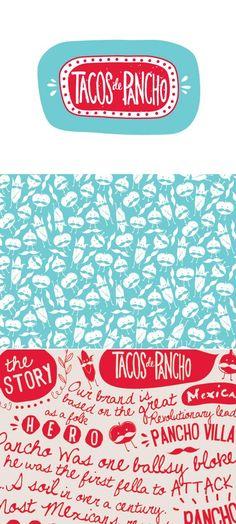 "Fun logo and branding design for Tasmania based Mexican food truck, Tacos De Pancho.  Via <a href=""https://www.behance.net"" rel=""nofollow"" target=""_blank"">BEHANCE.NET</a>"