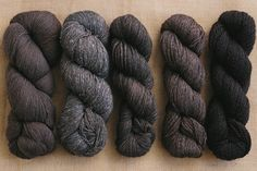 The Fibre Company at Hidden Purls (L to R: Road to China Lace in Smoky Quartz, Meadow in Silt, Road to China Light in Smoky Quartz, Canopy Fingering in Sarsparilla and Knightsbridge in Winesteeple) #hiddenpurls #knitting #yarn