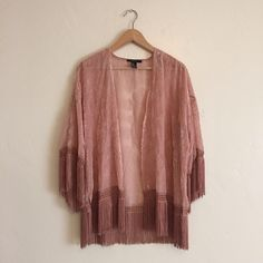 Sheer & Velvet Pink Kimono Funky sheer pink kimono with velvet details and tassels. Perfect for layering or using as a cover up in the summer. Size small, in excellent condition. Forever 21 Other