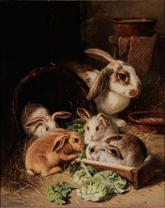Attributed to Alfred Richardson Barber ~ Rabbits Eating Lettuce