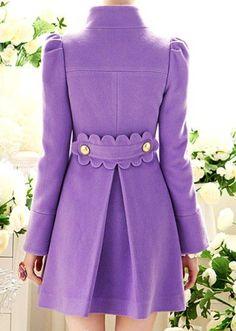 lavender coat with cute back detailing Mauve, I Dress, Shirt Dress, Summer Wardrobe, Wardrobe Closet, Fashion Details, Different Styles, Fashion Accessories, High Neck Dress