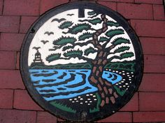 Colored manhole covers in Japan