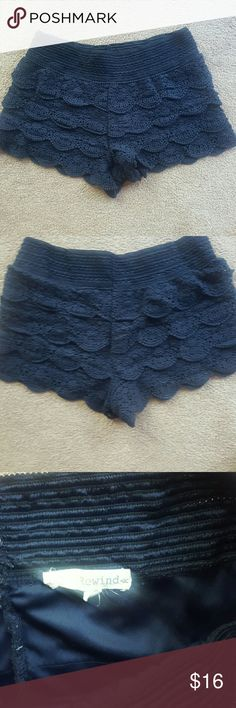 Navy Lace shorts Bought from local boutique   Navy  Thick band  Could be worn high or lower waisted  Super comfortable  *like new  Only gently worn a couple times rewind Shorts