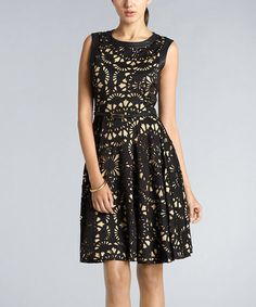 Take a look at this Black Laser-Cut Scuba Girlie Belted Dress by Muse on #zulily today!