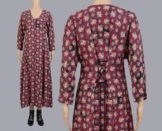 Vintage 90s Southwestern Floral Maxi Dress   Boho Lace Up Back   1990s Romantic Grunge Long Sleeve Dress   Burgundy Brown   Small S by SHOPPOMPOMVINTAGE on Etsy
