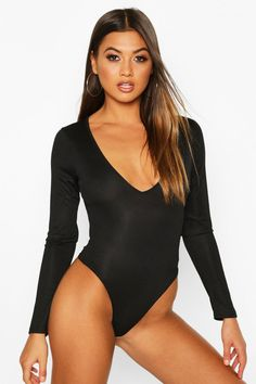Womens 2 Pack V Neck Knitted one piece - black - 4 Sequin Sweater, Sweater Cardigan, Pop Fashion, Fashion Outfits, Backless Bodysuit, Polo Neck, Bikini Girls, Knitwear, Sweaters For Women