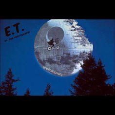 E.T. #et #starwars #film #fly #moon #deathstar #georgelucas #stevenspielberg #mashup #funnypictures #jedi #night #vintage