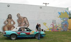 With Miami artist KRAVE in front of his mural. The 87 Mermaid Mustang (R.I.P). Art Car. By Miami Artist Gerry Stecca.  www.GerryStecca.com