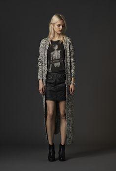 Tee: Morrison Knit: Rayne Leather Skirt: Vally  #mbyM #longcardigan #leatherskirt