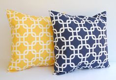 Throw pillow covers set of two 20 x 20 Navy and by ThePillowPeople, $34.00