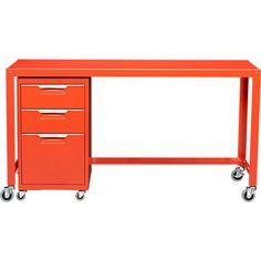 E Combination For Desk Tps Bright Orange File Cabinet In Office Furniture Cb2