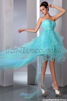 1st-dress.com Offers High Quality Aqua Sweetheart Neckline High-low Cocktail Dress with Train,Priced At Only US$165.00 (Free Shipping)