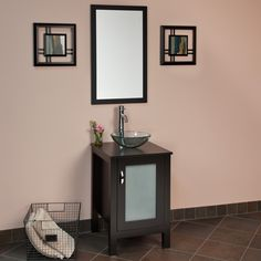 """Different color walls & tile, but the sink/vanity has potential :)  @Amanda Snelson Viehland  19"""" Keeway Vanity Cabinet with Vessel Sink and Mirror"""