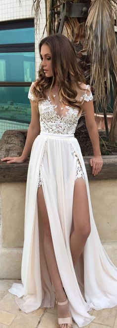 white Wedding Dresses lace Prom Dresses Long, Chiffon High slit evening Dress,white charming party dress on Storenvy Wedding Dress Chiffon, Wedding Party Dresses, Lace Chiffon, Lace Wedding, Dress Prom, Dress Formal, White Chiffon, Prom Gowns, 2017 Wedding