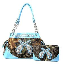 Camo and turquoise with pistols purse with matching billfold