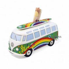 Witzige Spardose im VW Bus Retro-Look mit Surfbrett aus hochwertigem Porzellan