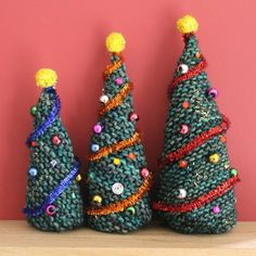 Knitting these gorgeous little Christmas trees is so quick and easy that anyone can do it. Decorating them is fun, too!