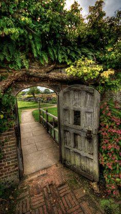 Through the garden gate at Barrington Court near Ilminster in Somerset, England