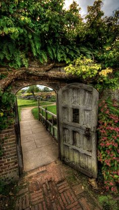 Through the garden gate at Barrington Court near Ilminster in Somerset, England