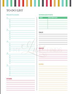 Easily keep track of your to-dos and daily tasks with this pretty printable. A separate lined notes sheet lets you keep track of additional tasks.