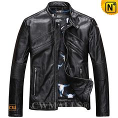 CWMALLS® Men's Washed Leather Moto Jacket CW816101 Slim fitting leather moto…