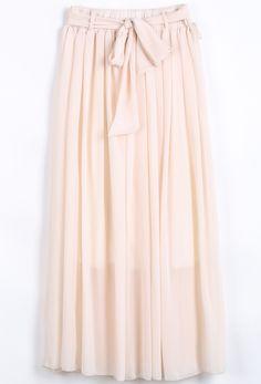 Apricot Elastic Waist Drawstring Pleated Chiffon Skirt US$20.79