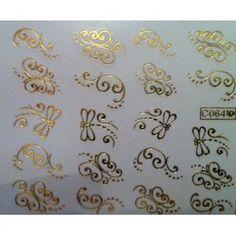 NAIL ART WRAP WATER TRANSFER DECALS SHINEY/METALLIC GOLD SWIRL DRAGONFLY #110: Amazon.co.uk: Beauty