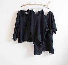 handmade black linen pieces - by annyschooecoclothing