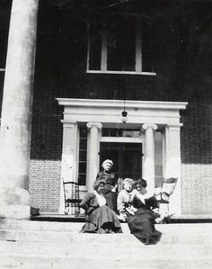 Emilie Todd Helm, top, sits on the front steps of Helm Place in this undated photo; she bought the home in 1912