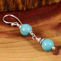 Sterling Silver - BARSE Turquoise Beads 2.2g - Dangle (SINGLE) Earring ZL9801 - http://designerjewelrygalleria.com/barse/sterling-silver-barse-turquoise-beads-2-2g-dangle-single-earring-zl9801/
