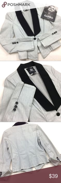 """Rock & Republic Tuxedo Blazer Jacket Rock & Republic Gray & Black Denim Blazer Tuxedo Coat Jacket Brand new without tags, perfect condition! Heathered light grey, stretchy feminine fit. Black Collar. 1 big beautiful company branded metal button closure.  Fold up french cuff type sleeve with 3 company branded metal buttons per sleeve. Cotton Spandex Blend. Collar is 100% Cotton. Labeled a sz 8, Exact measurements: Bust: 36"""" Length: 23""""  Greta Garbo book not included :) ID rerox Rock…"""