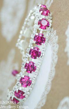 Crystal bracelet | Fuchsia wedding bracelet | Pink bridal bracelet | pink bridesmaid bracelet | hot pink wedding | fuchsia wedding | www.endorajewellery.etsy.com