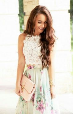 Spring/Easter Look. Beautiful blush clutch with white crochet top and minty floral maxi skirt. | • CHICago Girl Outfits