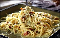 Creamy Carbonara.  This is perfect!  My fav. dinner.  I use panchetta instead of bacon and add shrimp to the onions and mushrooms, red bell pepper for color with the onions.  Yum!