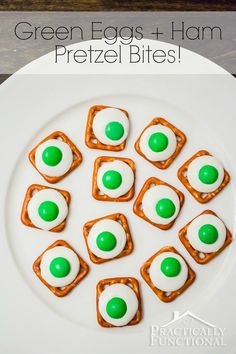 These green eggs and ham pretzel bites are delicious and easy to make! Perfect for a Dr. Seuss themed party!