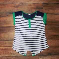 Navy and Green Top