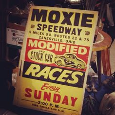 I'm always a sucker for a bike or drag race letterpress poster showing age.  Discovered at Scott Antique Show in Columbus, OH.  #typehunter #typediscovery #vintageposter #letterpress