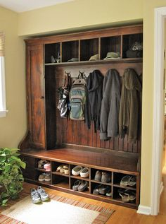 love the entry ways space- shoes off mud room. Use sideways bookshelves.