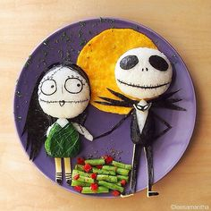 Jack and Sally inspired plate $40