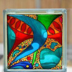 Abstract Glass Block, Night Light & Sun Catcher. HAND PAINTED, REPURPOSED Original art, Home Decor, Garden Ornament, Glass Painting, Pop Art by OrnatelyLanterns on Etsy https://www.etsy.com/listing/232190165/abstract-glass-block-night-light-sun