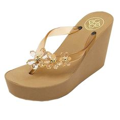 14ac81e71ac ANBOVER Womens Floral Gem Sandals Wedge Chunky High Platform Flip Flops    Very kind of your