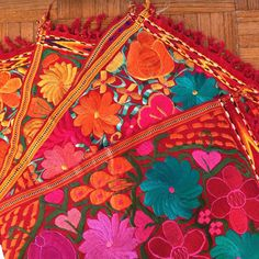 Vibrant Mexican Machine Embroidered Placemats