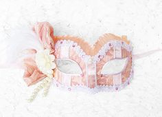 SUMMER SALE  Pink Cream And White Masquerade Mask  by SOFFITTA, $60.00