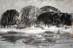 Loire - répertoire n° 1670 - by Philippe Chesneau - Dim. 40 x 60 cm - Acrylique sur carton blanc marouflé sur panneau bois