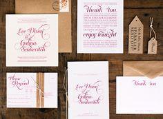Timeless Red White Kraft Letterpress Wedding Invitations Galina Dixon3 Galina + Lees Timeless Typography Inspired Wedding Invitations
