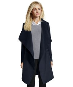 The Diane Von Furstenberg navy wool blend shawl collar belted wrap coat